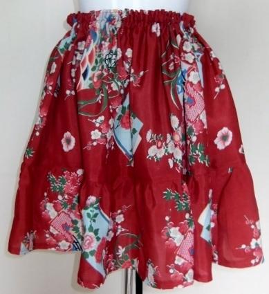 着物リメイク 花柄の着物で作ったミニスカート 1306