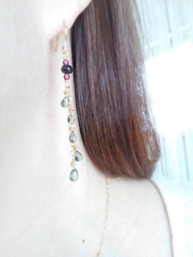 ☆宝石質☆グリーンサファイアのロングピアス(14kgf)