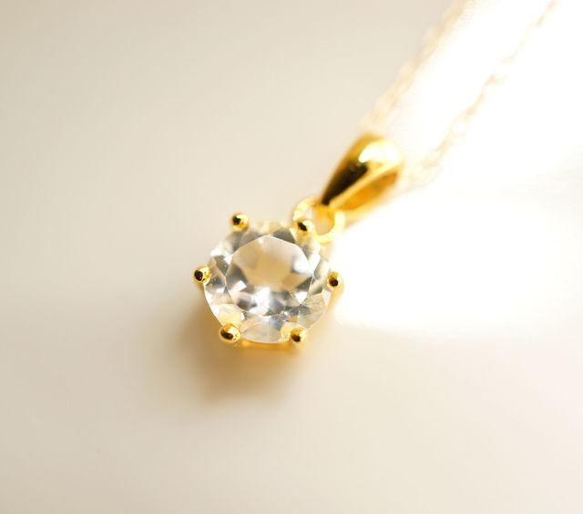 再販】K18極上ホワイトトパーズのネックレス 〜Stella