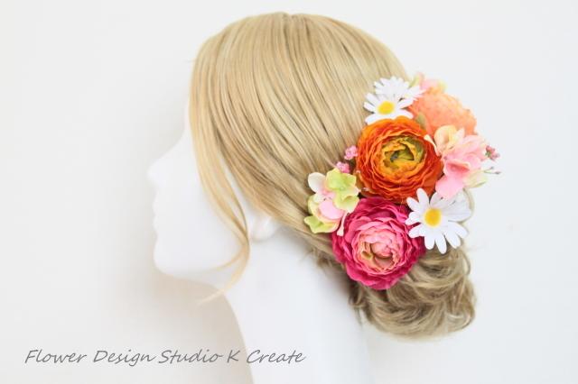 オレンジローズのヘッドドレス(Uピン8本セット)