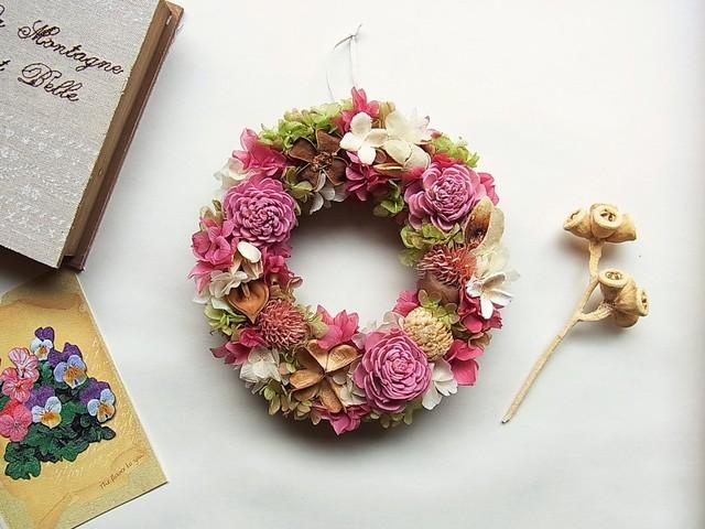 母の日 フラワーリース ピンク&グリーン  Mサイズ