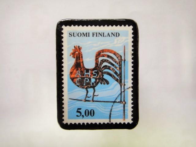 フィンランド 切手ブローチ1038