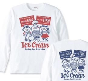 アイスクリームBoy&Girl☆アメリカンレトロ 両面 長袖Tシャツ【受注生産品】