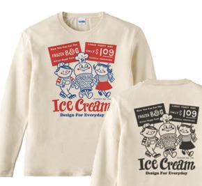 【再販】アイスクリームBoy&Girl☆アメリカンレトロ 両面 長袖Tシャツ【受注生産品】