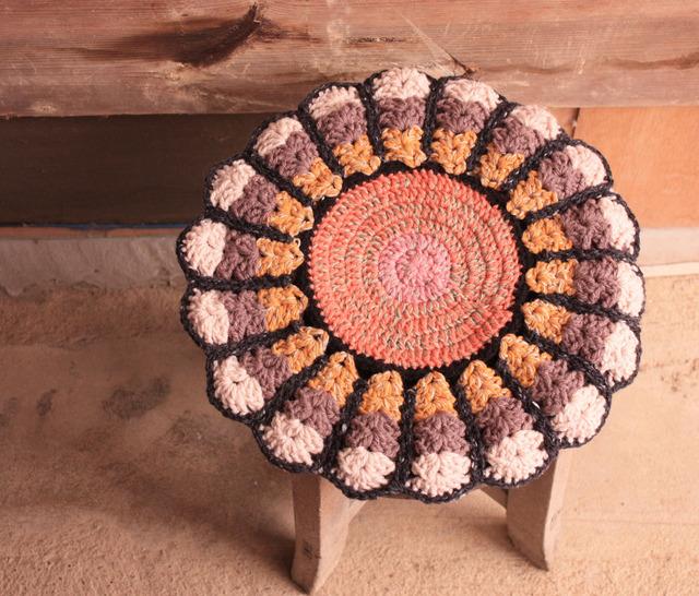 お花の円座 リバーシブル 35cm
