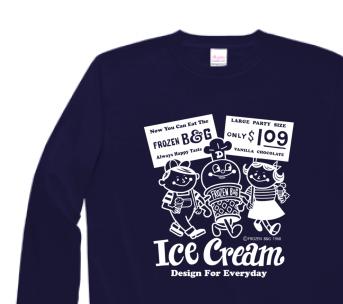 アイスクリームBoy&Girl☆アメリカンレトロ 片面  長袖Tシャツ【受注生産品】