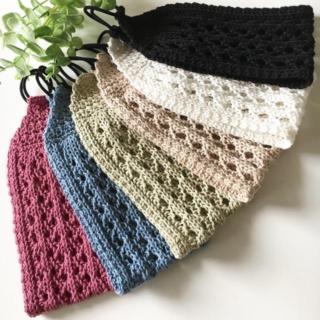 涼しげ透かし模様の手編みヘアバンド