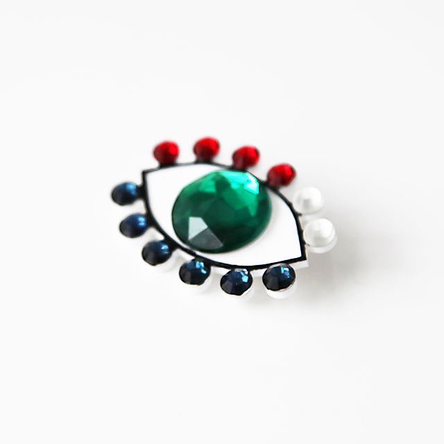 Medama Broach(L) -green-navy-