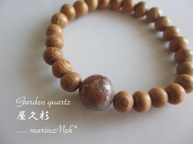 【Spirit♪】屋久杉&ガーデンルチル水晶ブレスレット(桐箱付)