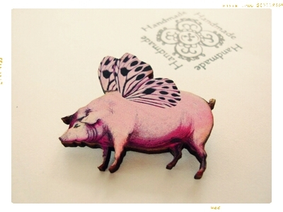 【Fairy Pig ピンクの仔豚】 ブローチ