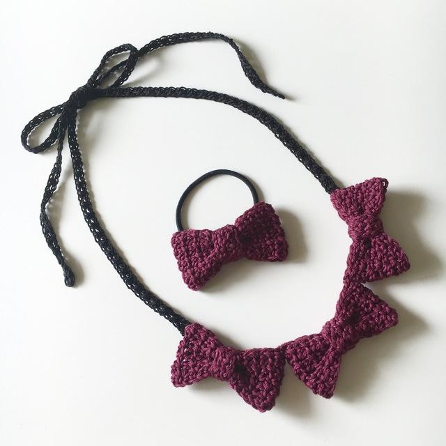 【オーダー品】手編みリボンのネックレス&ヘアゴムセット