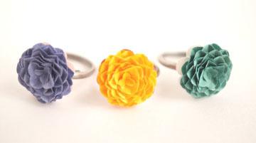 紙の花指輪「夕暮れ、太陽、森の奥」紙のリング