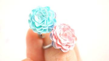 紙の花指輪「空とバラ」紙のリング