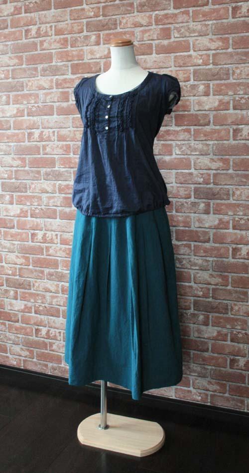 タックギャザースカート オールドグリーンブルー