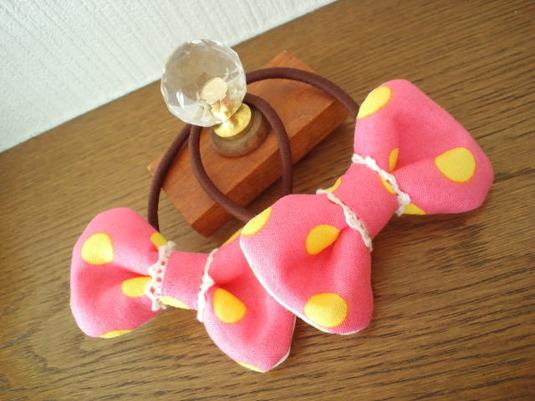 ふかふかリボンゴム☆2コセット☆ピンク