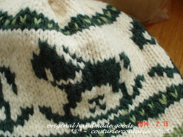 uru様ご予約専用の北欧柄編み込み緑色 の木馬ニットキャップ