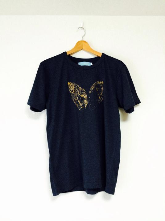 Lサイズ・海のミルクTシャツ(メランジネイビー)