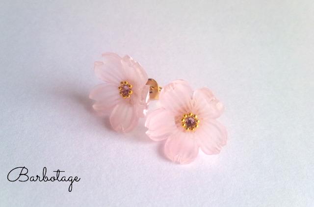 【再販・受注制作】硝子桜のピアス(イヤリング)