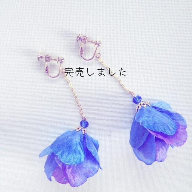 再2販☆花びらスカート☆ブルーイヤリング