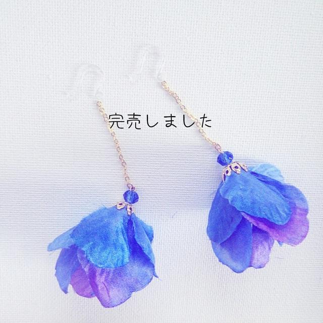 再2販☆花びらスカート☆ブルー樹脂ピアス