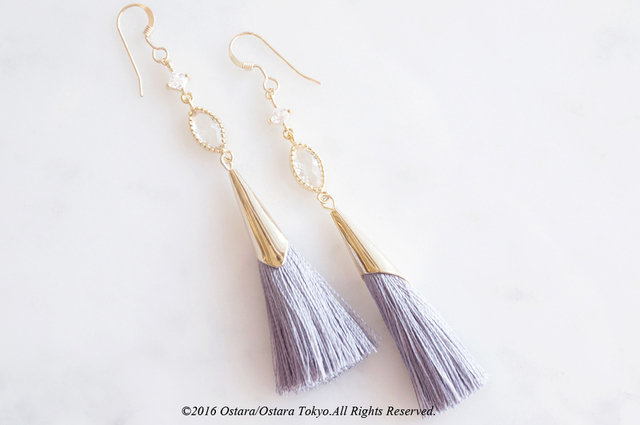 ��14KGF�� Gray Tassel Earrings