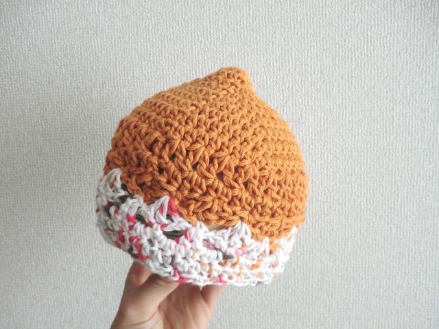 オールシーズン☆コットンのベビー帽子42cm オレンジ
