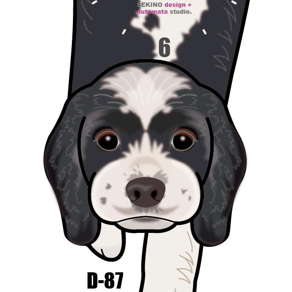 D-87 コッカー・スパニエル(白黒)-犬の振り子時計