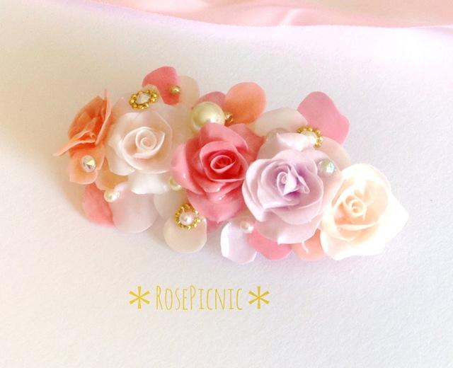 薔薇のアクセサリー 幸せヘアのバレッタ ピンクローズ