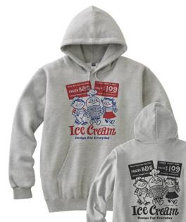 【再販】アイスクリームBoy&Girl☆アメリカンレトロ 両面 パーカー【受注生産品】