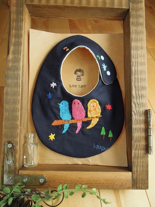 とりモチーフ刺繍スタイ ダブルガーゼ