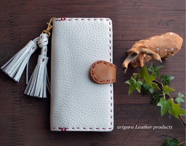 Tassel strap◆iPhone7/6/6s/5s/SE◆ミルキーホワイト◆牛革レザー手帳型iPhoneケース