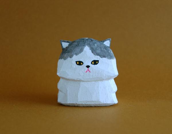 木彫り人形 ペルシャ猫 白×薄クロ  [MWF-167]
