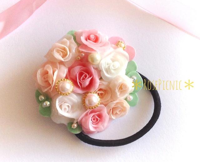薔薇のアクセサリー 幸せヘアのお花ブーケヘアゴム