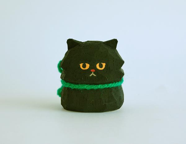 木彫り人形 ペルシャ猫 くろ  [MWF-168]