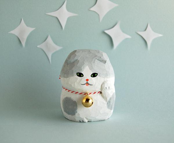木彫り人形 まねきねこ スコティッシュ 白×グレー [MWF-171]