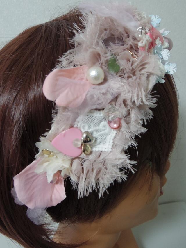 サテン風ピンクのバラとレースいろいろヘアバンド オリジナル