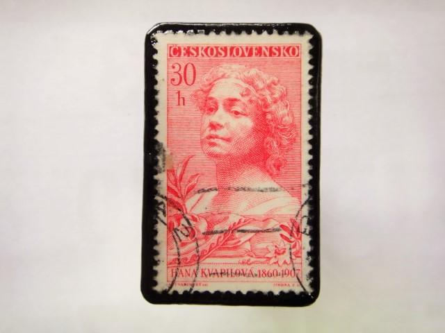 チェコスロバキア 切手ブローチ1047