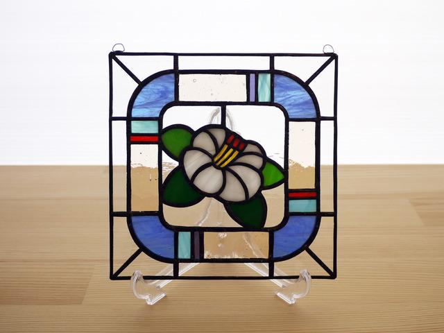 ステンドグラス ミニパネル 白椿 15cm