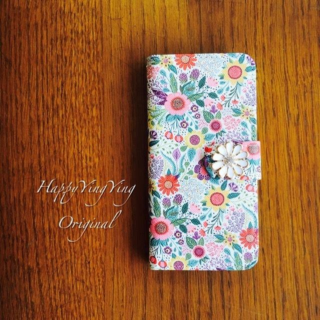 【iPhone5/5S/SE】【穴2】デザイン花手帳型★菊花ビジュー