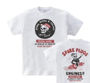 スパークプラグ&骸骨(両面)前A柄 後ろB柄 WM〜WL?S〜XL Tシャツ【受注生産品】