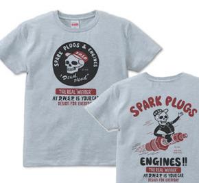 スパークプラグ&骸骨(両面)前A柄 後ろB柄 XS(女性XS〜S)   Tシャツ【受注生産品】