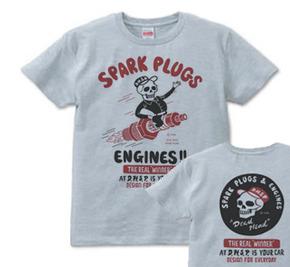 【再販】スパークプラグ&骸骨(両面)前B柄 後ろA柄 XS(女性XS〜S)   Tシャツ【受注生産品】