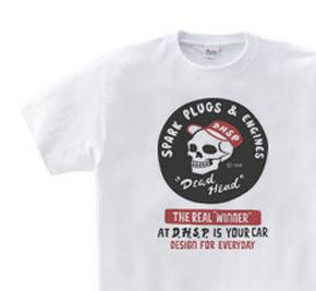 スパークプラグ&骸骨(片面)前A柄  WM〜WL?S〜XL Tシャツ【受注生産品】