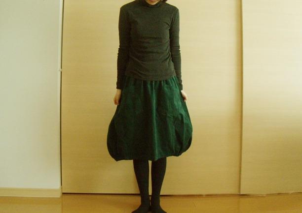 送料無料*ふんわりバルーンスカート(ボトルグリーン)
