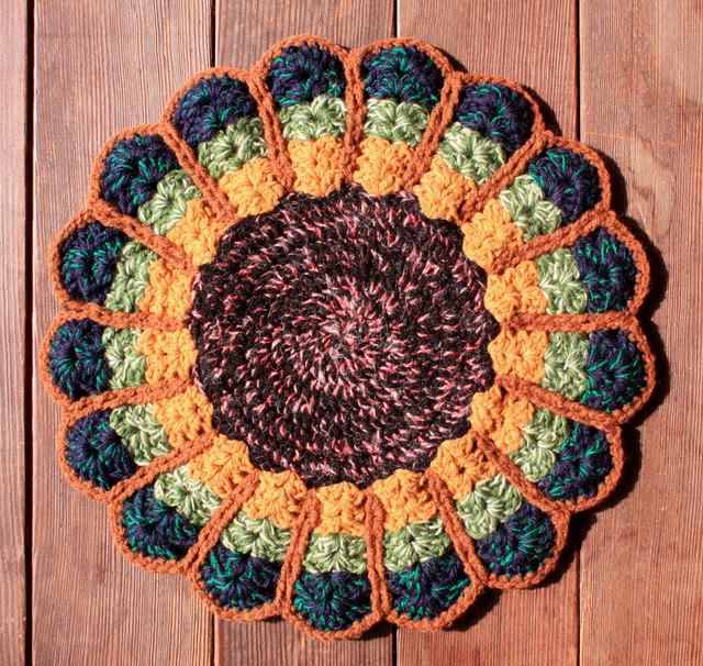 お花の円座 リバーシブル 36cm