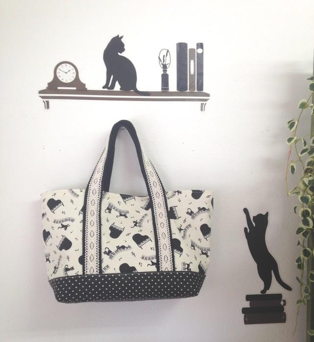 トートbag(黒猫&ピアノ)