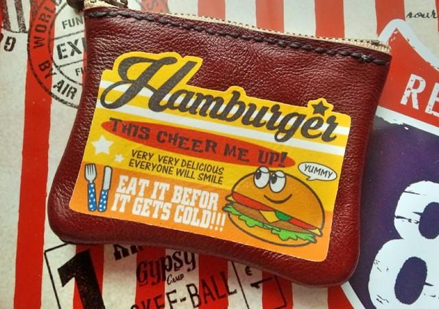 【P-26】アメリカンロゴ★レザー革ミニポーチ★ハンバーガー