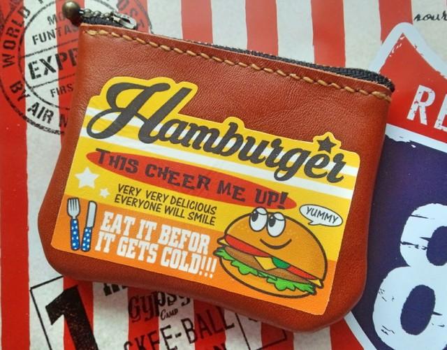 【P-27】アメリカンロゴ★レザー革ミニポーチ★ハンバーガー小銭入れ