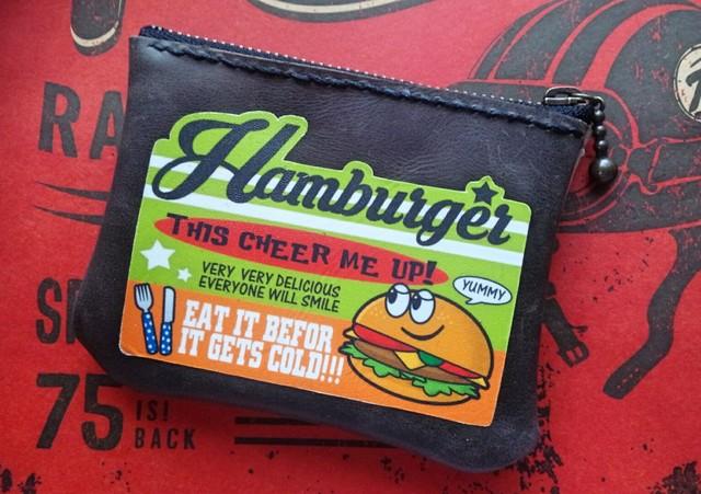【P-29】ハンバーガー★レザー革ミニポーチ★アメリカンロゴ小物入れ
