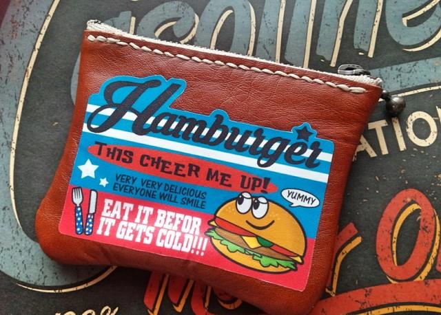 【P-30】アメリカンロゴ★レザー革ミニポーチ★ハンバーガー小物入れ